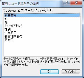 """主キーが設定されていないと固有レコード識別子の選択が表示される"""""""